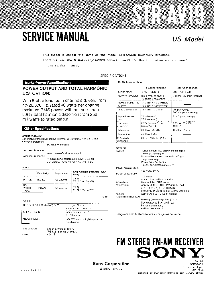 SONY STR-AV19 Service Manual download, schematics, eeprom