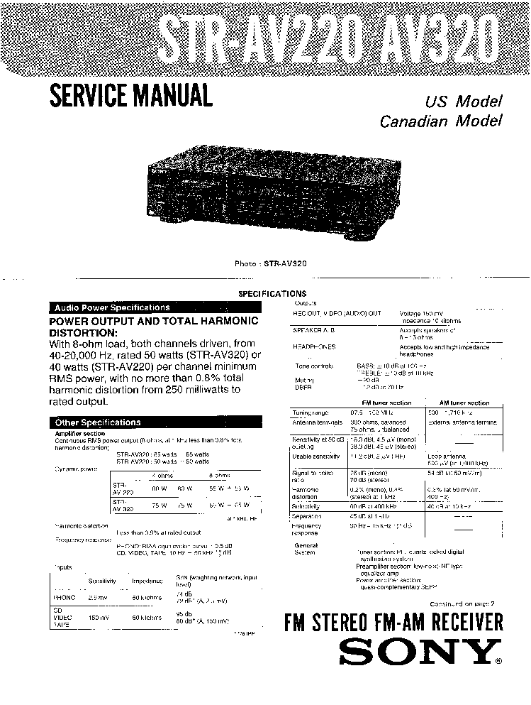 SONY STR-AV220 AV320 Service Manual download, schematics