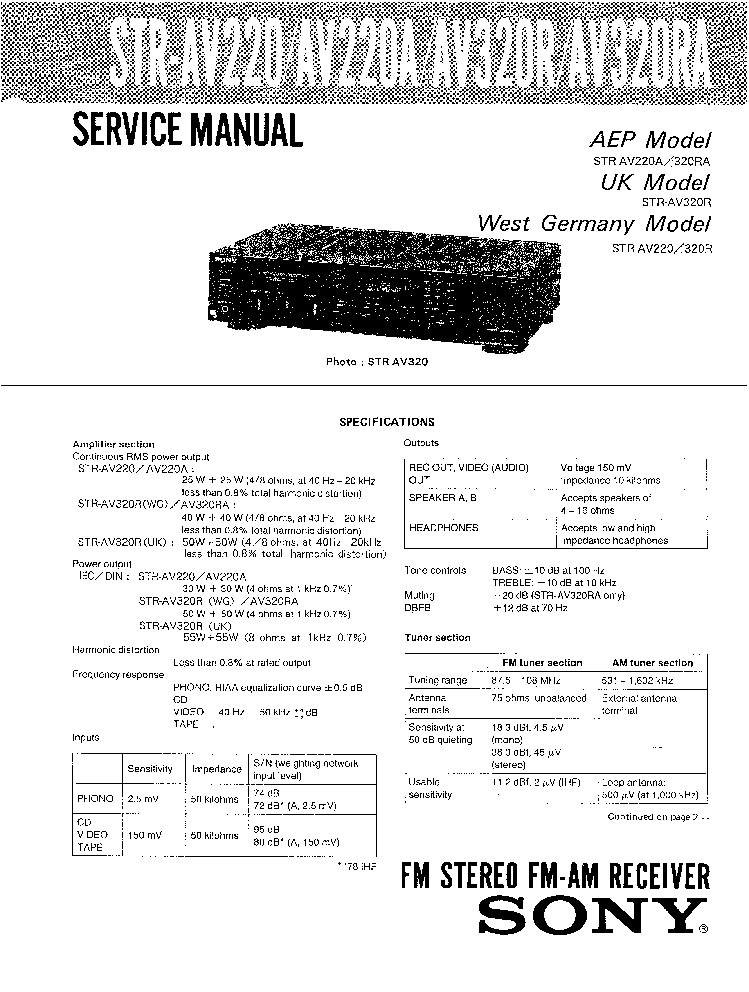 SONY STR-AV220A,320R,RA Service Manual free download