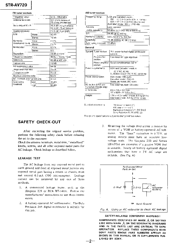 SONY STR-AV720 Service Manual download, schematics, eeprom
