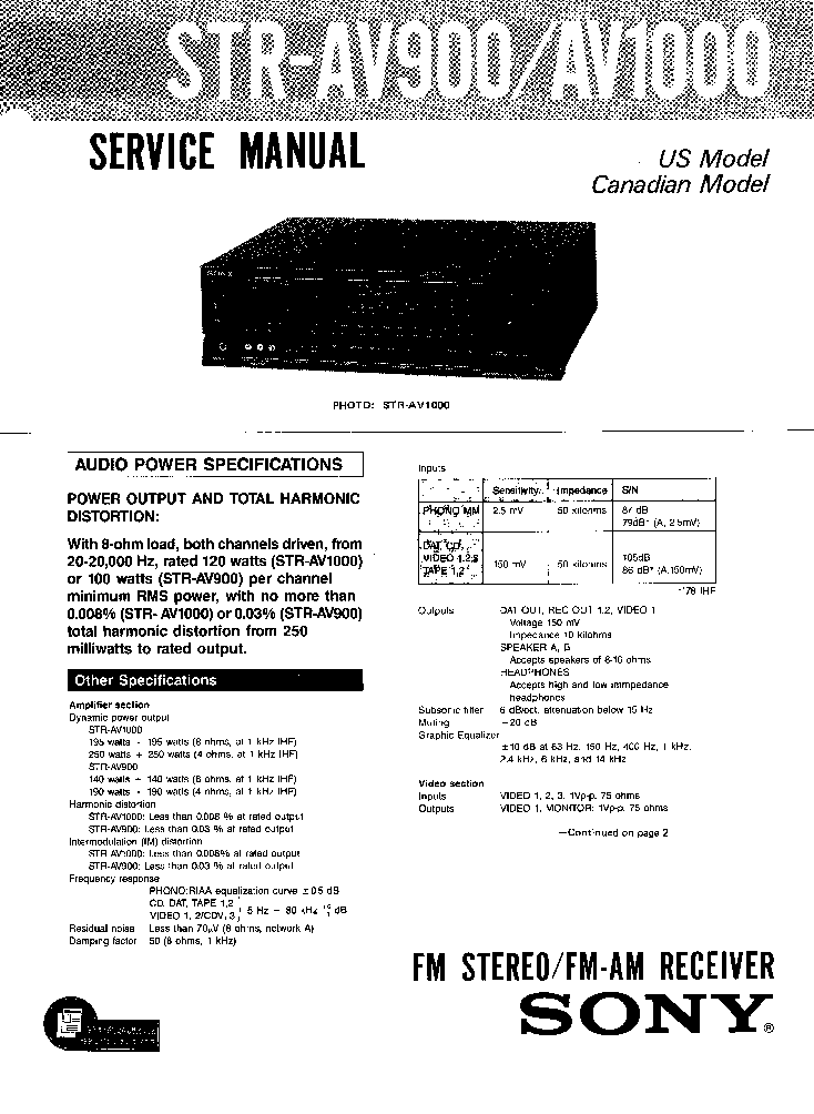 SONY STR-AV900 AV1000 Service Manual download, schematics