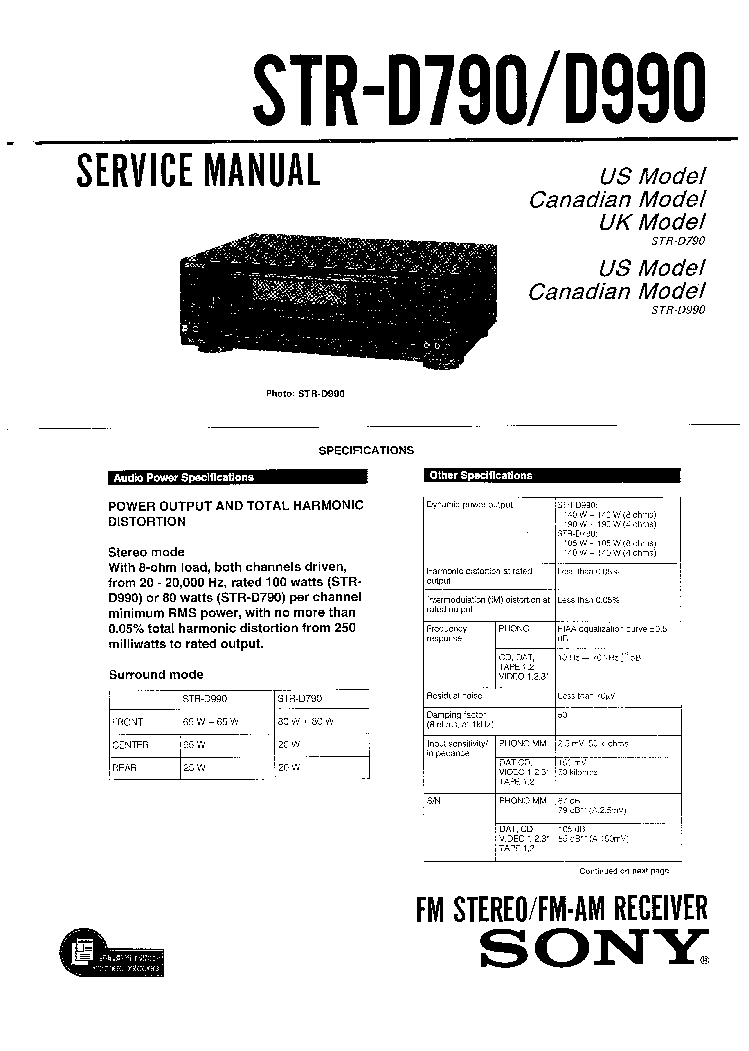 SONY STR-D790 STR-D990 Service Manual download, schematics