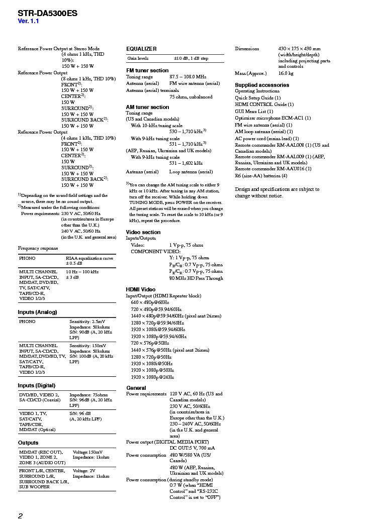 SONY STR-DA5300ES VER-1.1 SM Service Manual download