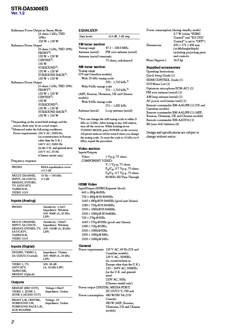 SONY STR-DA5300ES VER1.4 Service Manual download