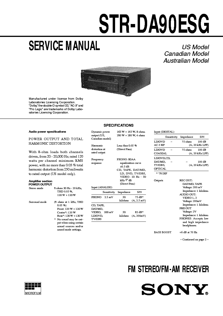 SONY STR-DA90ESG Service Manual free download, schematics