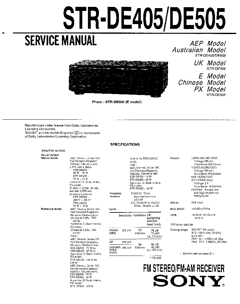 SONY STR-DE405 DE505 Service Manual download, schematics