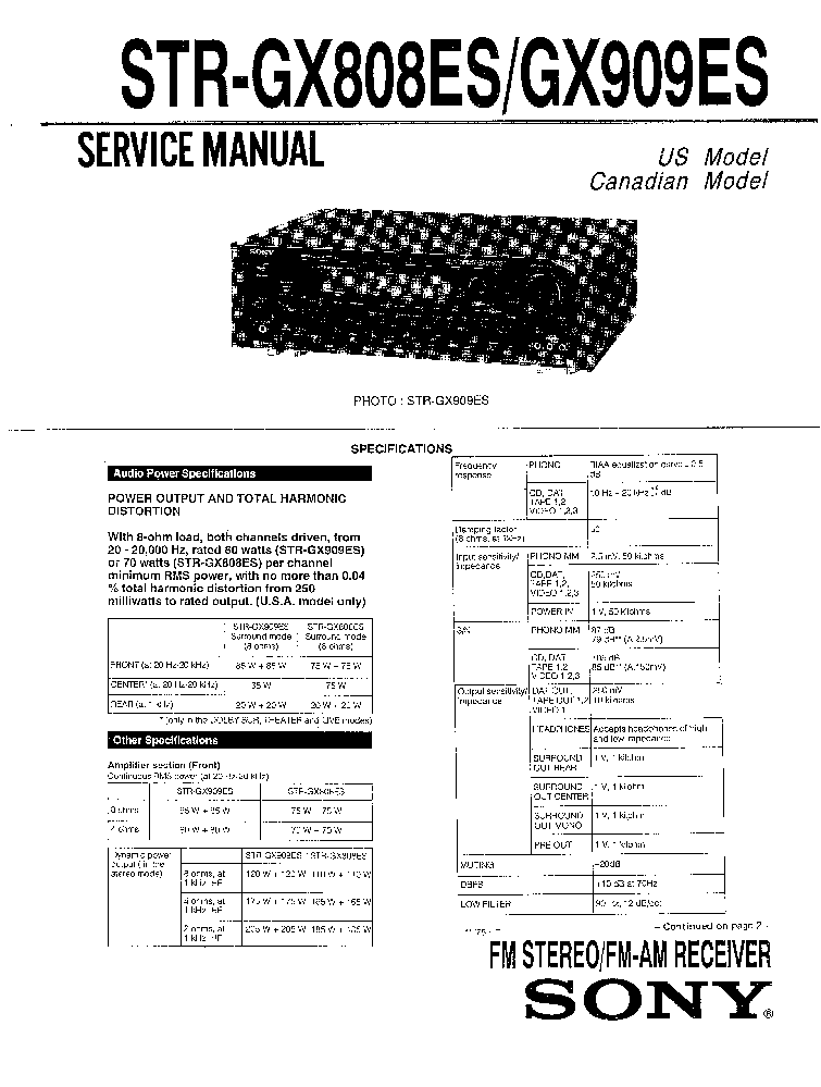 SONY STR-GX808ES GX909ES Service Manual download