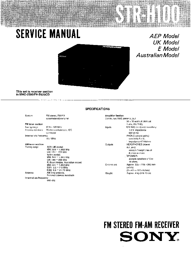 SONY STR-H100 Service Manual download, schematics, eeprom