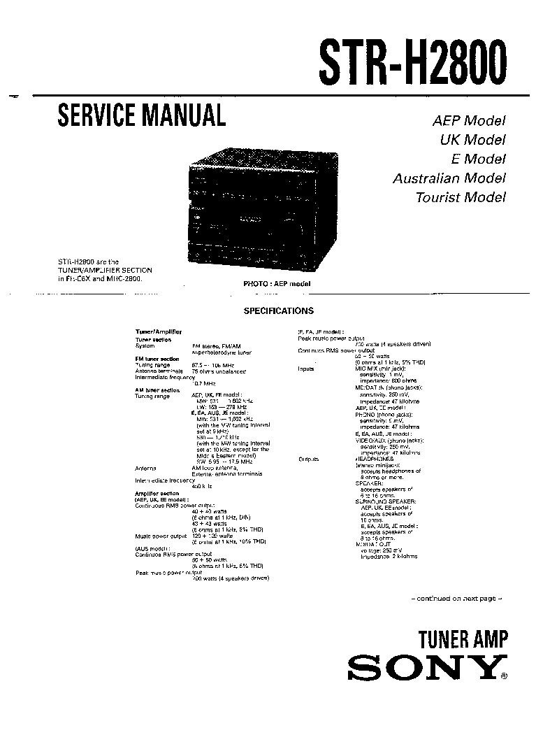 SONY STR-H2800 Service Manual download, schematics, eeprom