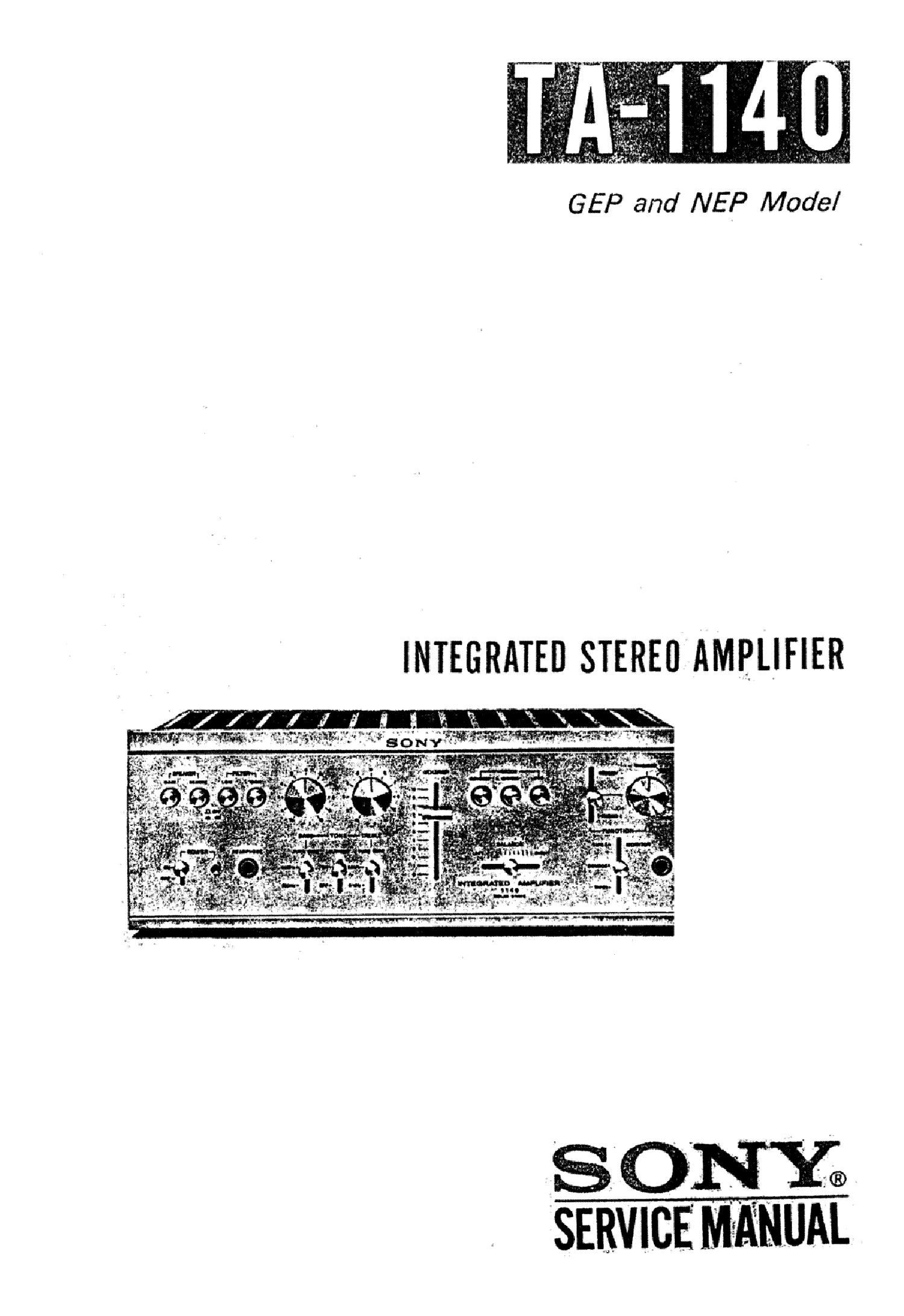 SONY TA-1140 INTEGRATED STEREO AMPLIFIER Service Manual