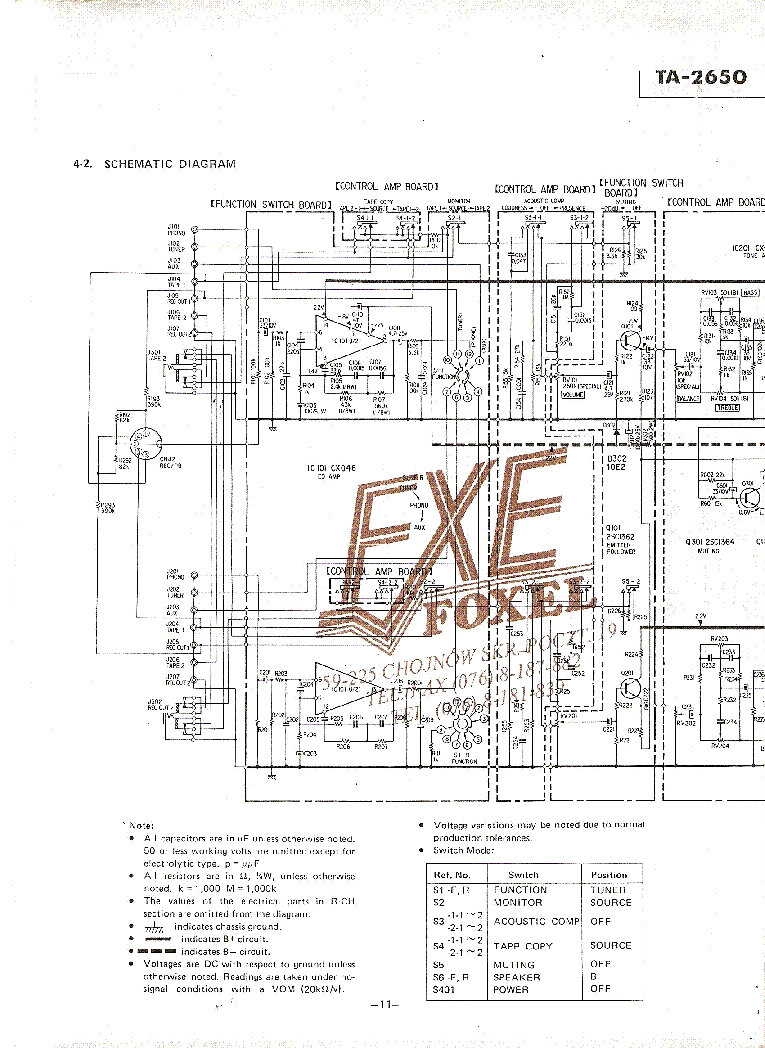 SONY TA-2650 Service Manual download, schematics, eeprom