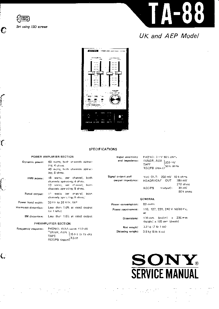 SONY TA-88 SM 1 Service Manual download, schematics