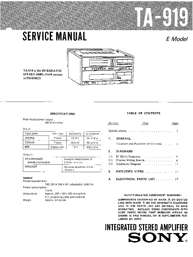 SONY TA-919 SM Service Manual download, schematics, eeprom
