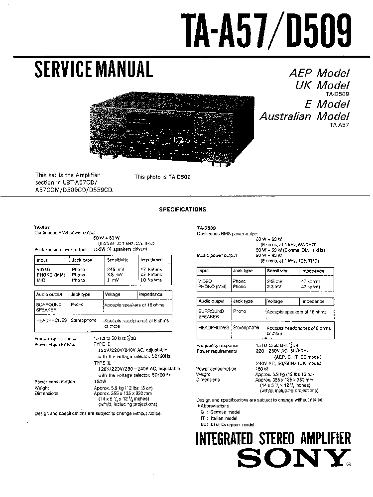 SONY TA-A57 TA-D509 Service Manual download, schematics
