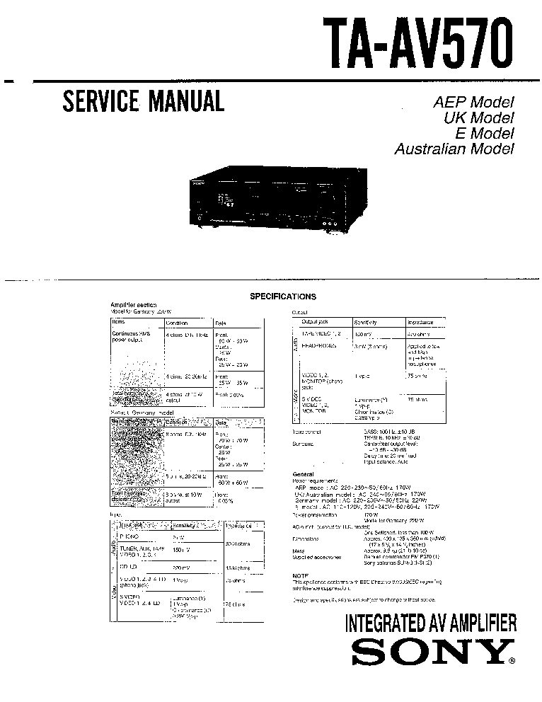 SONY TA-AV570 Service Manual download, schematics, eeprom