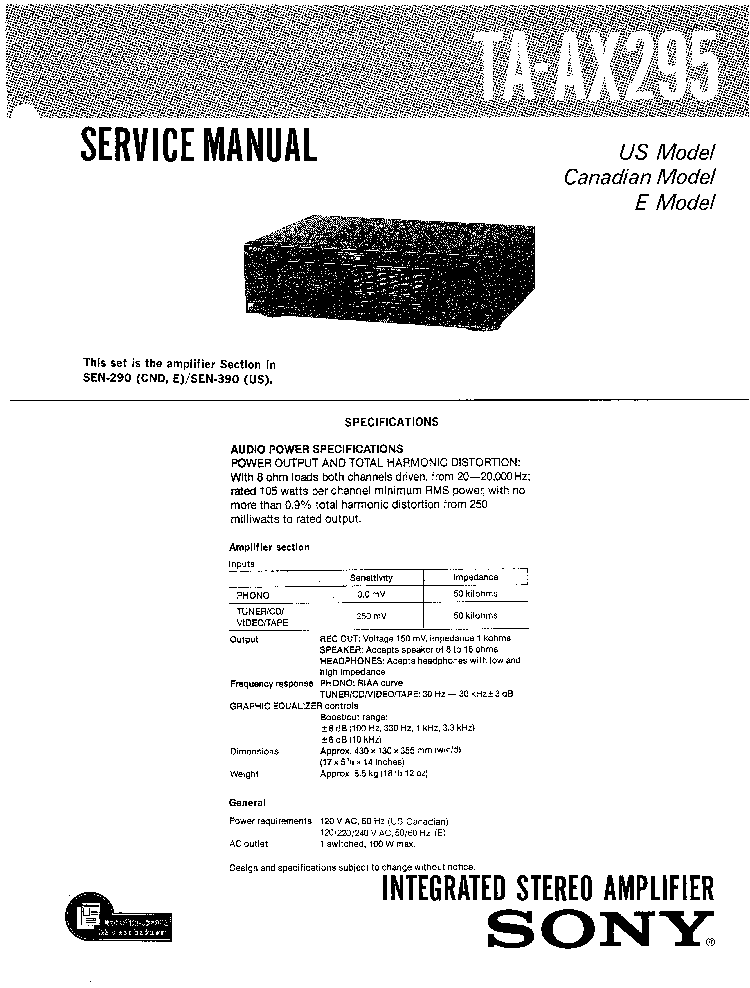 SONY TA-AX295 SM Service Manual download, schematics