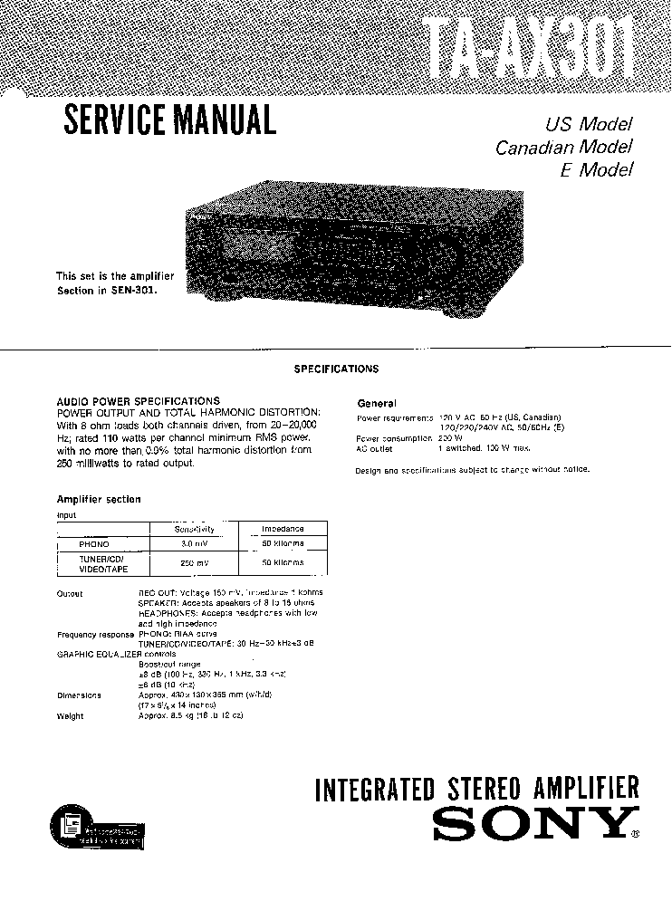 SONY TA-AX301 Service Manual download, schematics, eeprom
