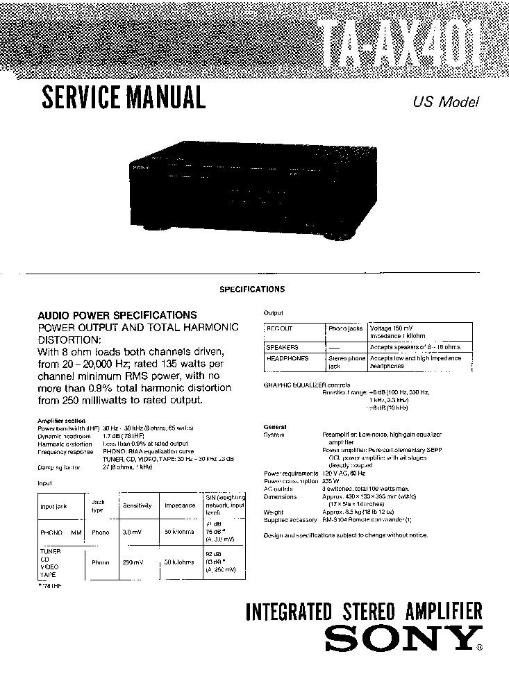 SONY TA-AX401 Service Manual download, schematics, eeprom