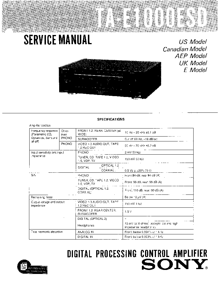 SONY TA-E-1000-ESD SM Service Manual download, schematics