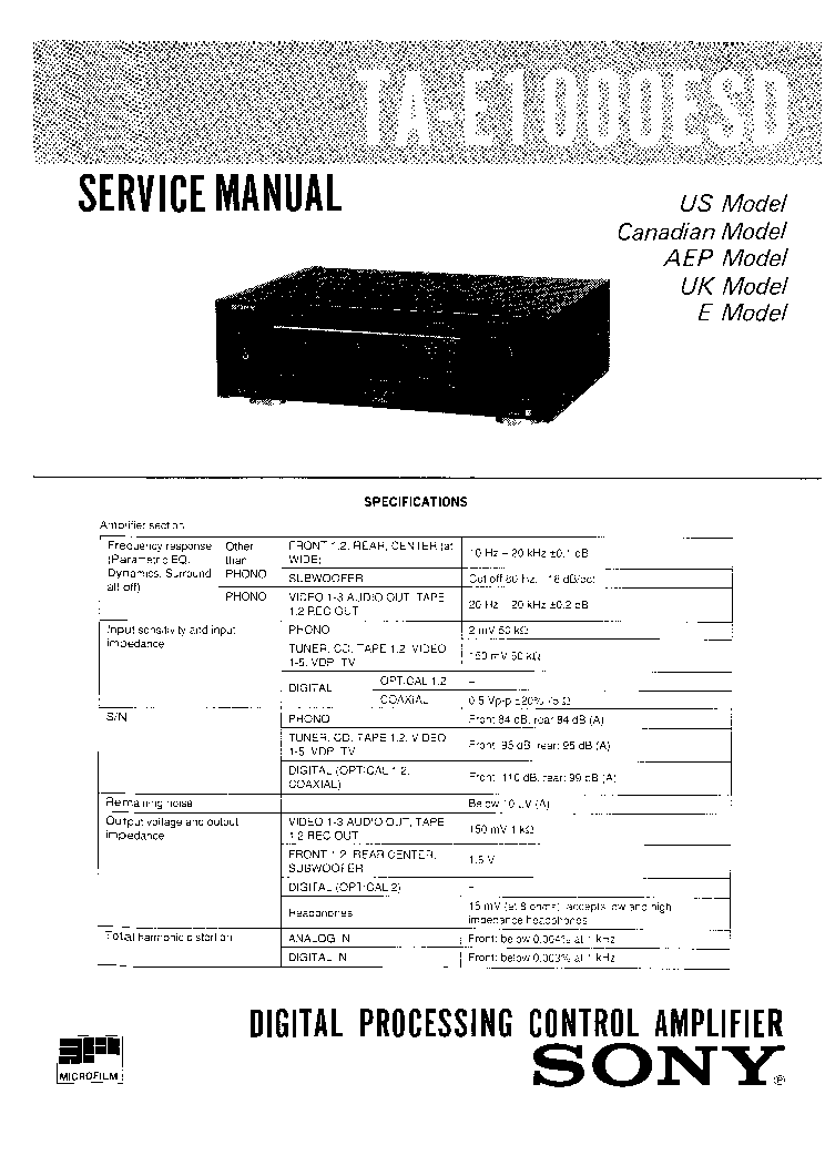 SONY TA-E1000ESD SM Service Manual download, schematics
