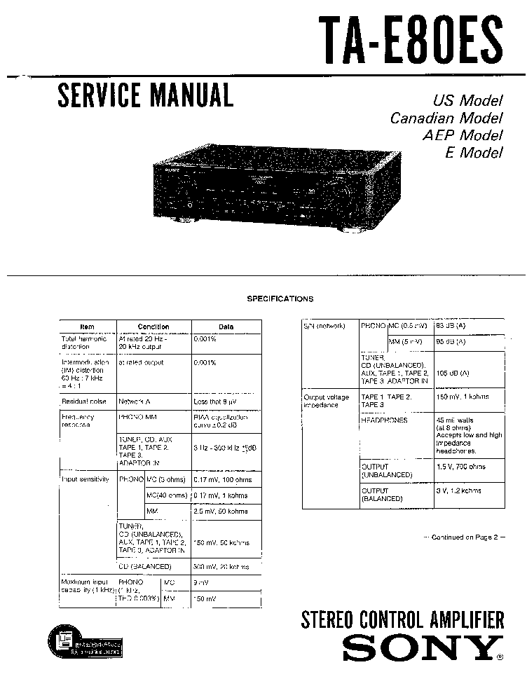 SONY TA-E80ES Service Manual download, schematics, eeprom