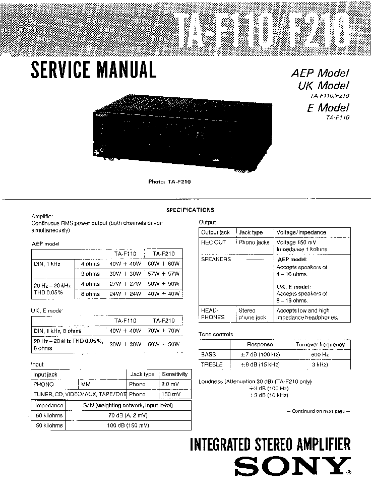SONY TA-F110,F210 Service Manual download, schematics