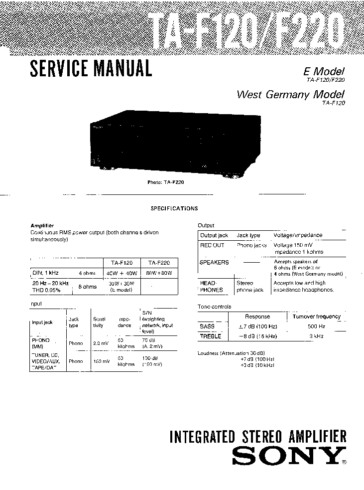 SONY TA-F120 F220 SM Service Manual download, schematics
