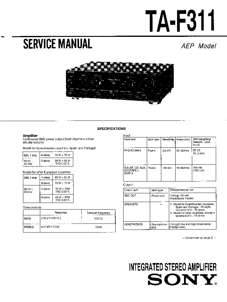 SONY TA-F311 SM Service Manual download, schematics