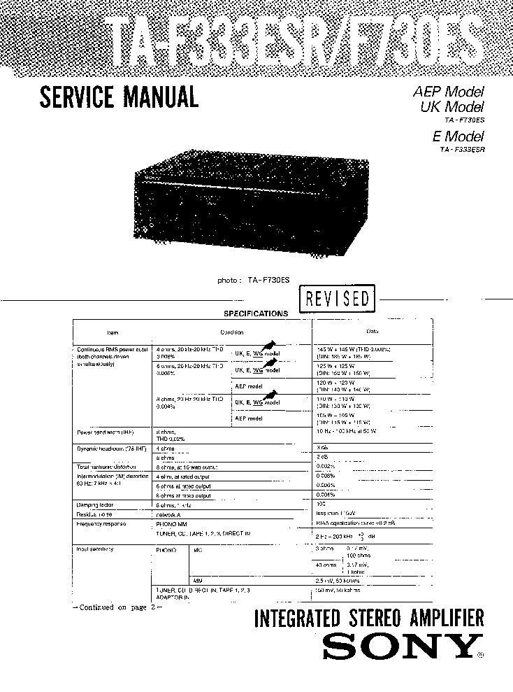 SONY TA-F333ESR TA-F730ES AMPLIFIER Service Manual