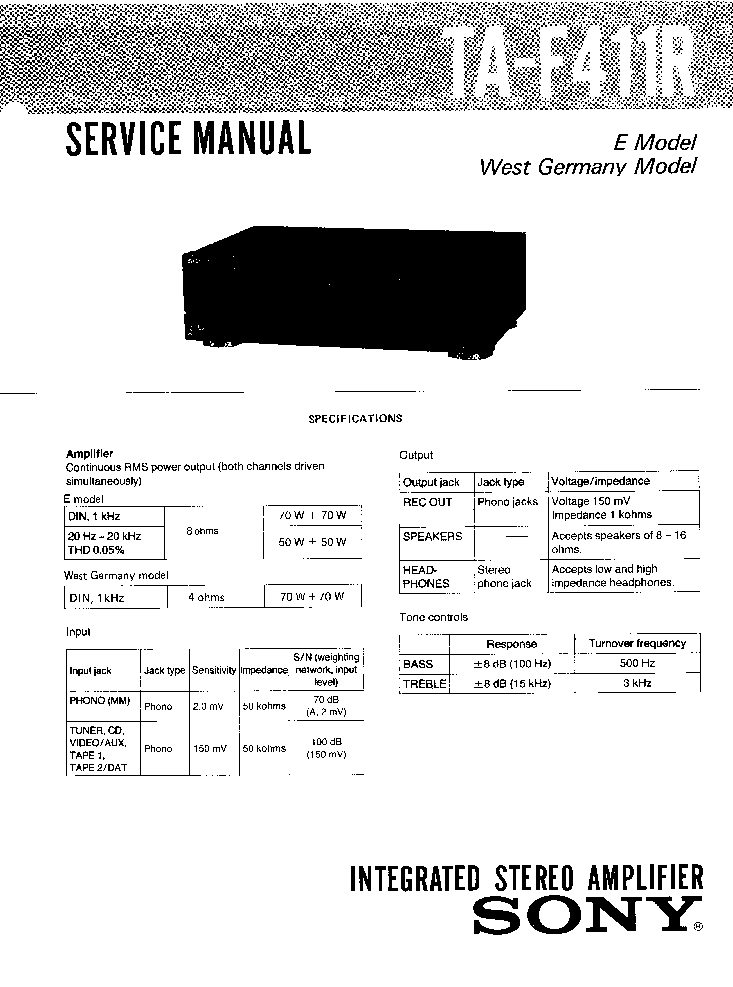 SONY TA-F411R Service Manual download, schematics, eeprom