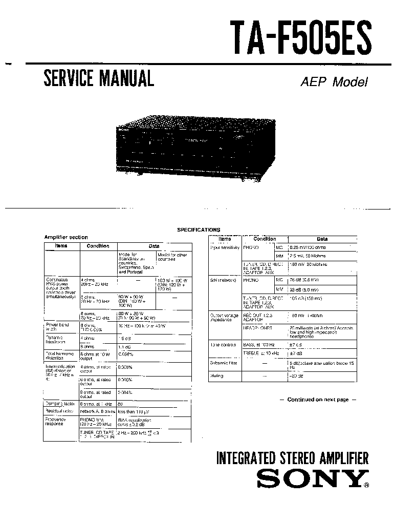 SONY TA-F505ES SM Service Manual download, schematics