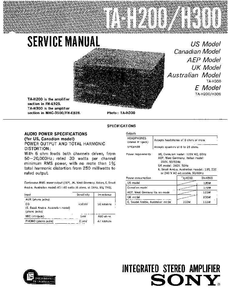 SONY TA-H200,H300 Service Manual download, schematics