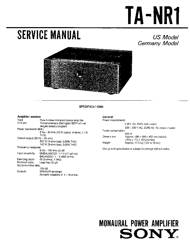 SONY TA-NR1 Service Manual download, schematics, eeprom