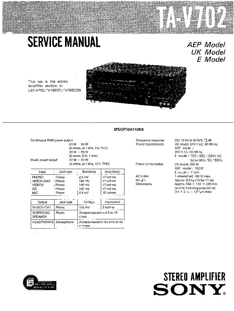 SONY TA-V702 SM Service Manual download, schematics