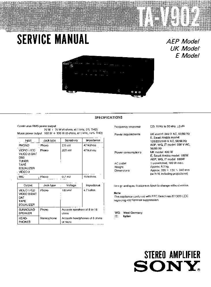 SONY TA-V902-SM Service Manual download, schematics