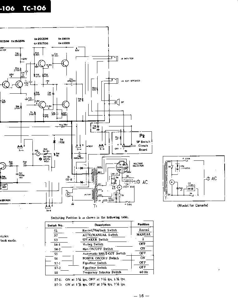 SONY TC-106 SCH Service Manual download, schematics
