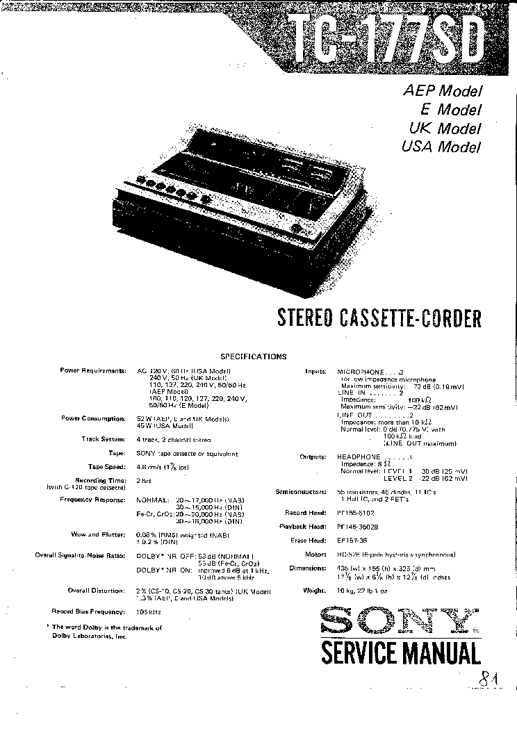 SONY TC-177SD SM Service Manual download, schematics