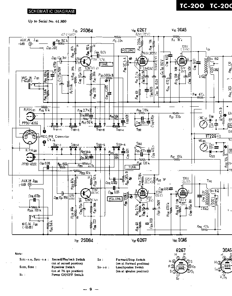 SONY TC-200 SCH Service Manual download, schematics