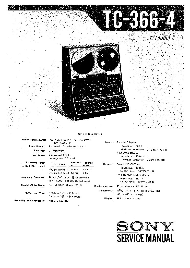 SONY TC-366-4 Service Manual download, schematics, eeprom