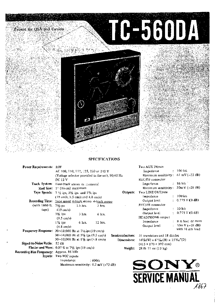 SONY TC-560DA Service Manual download, schematics, eeprom