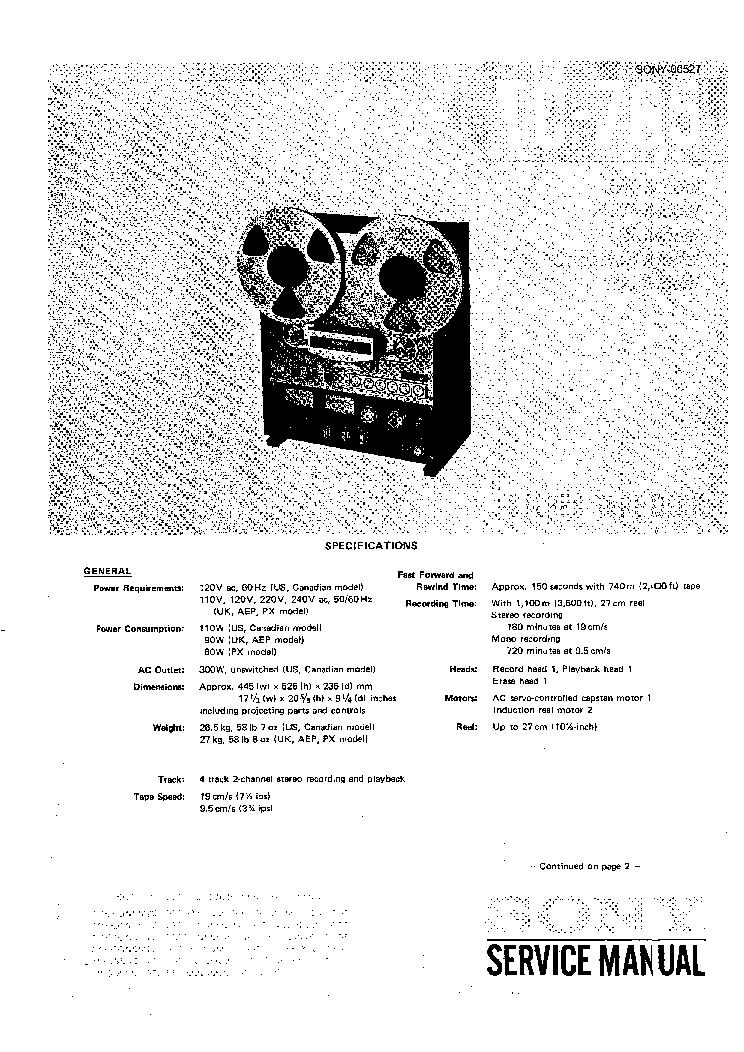 SONY TC-765 Service Manual download, schematics, eeprom