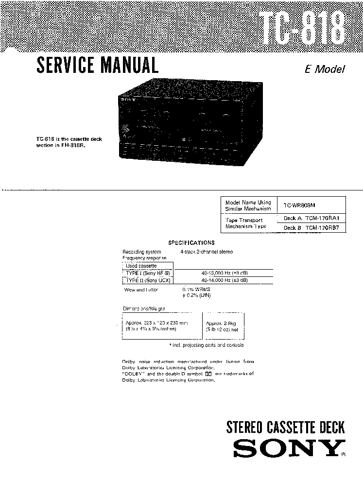 SONY HCD-GN660 GN770 GX9000 SM Service Manual free