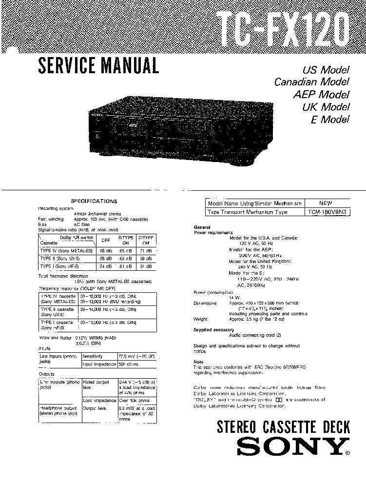 SONY STR-DB925 SM Service Manual download, schematics