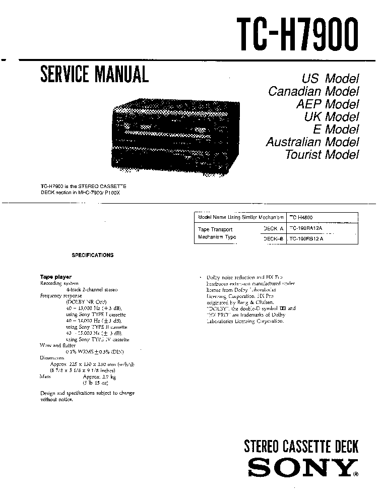 SONY TC-H7900 MHC-7900 P100X SM Service Manual download