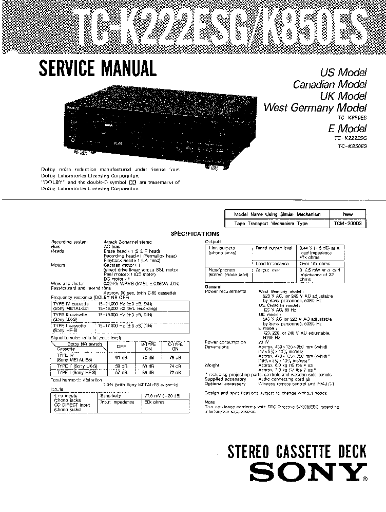 SONY TC-K222ESG K850ES SM Service Manual download