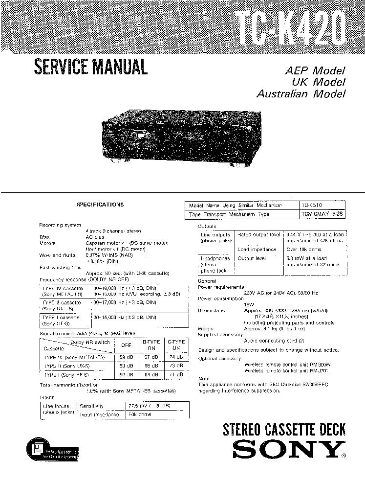 SONY TC-K420 Service Manual download, schematics, eeprom