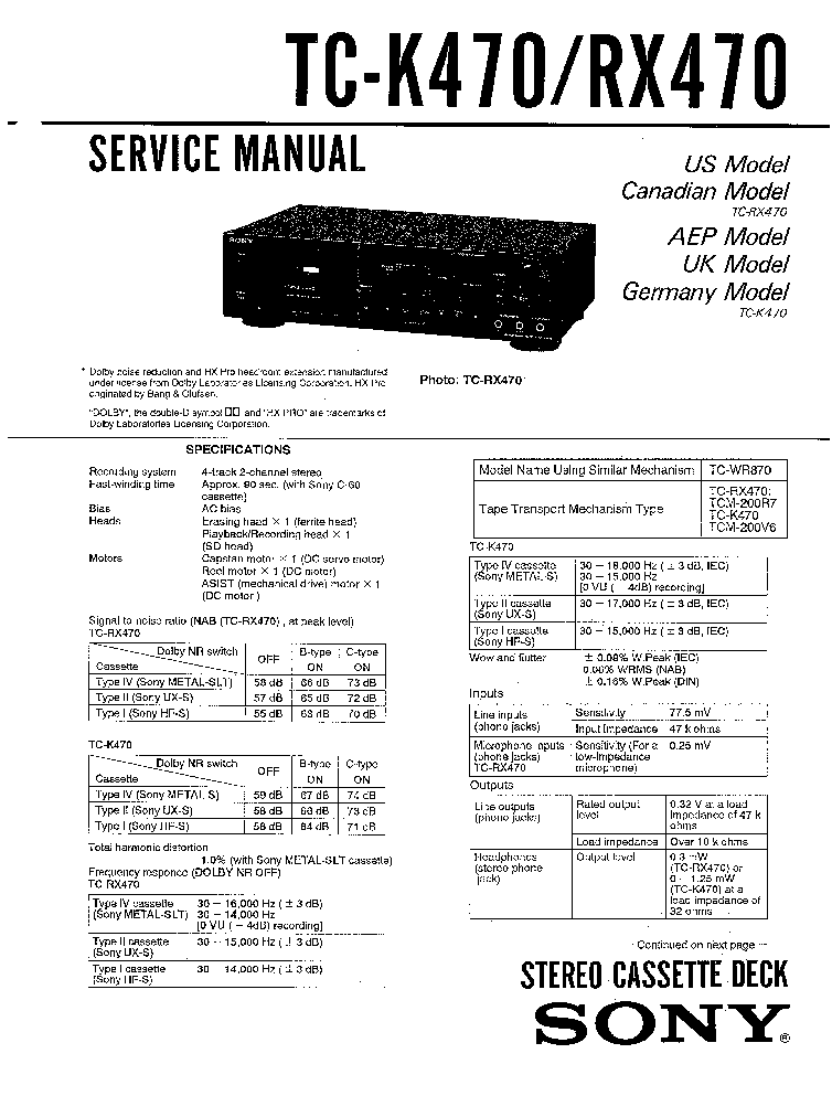 SONY TC-K470 RX470 SM Service Manual download, schematics