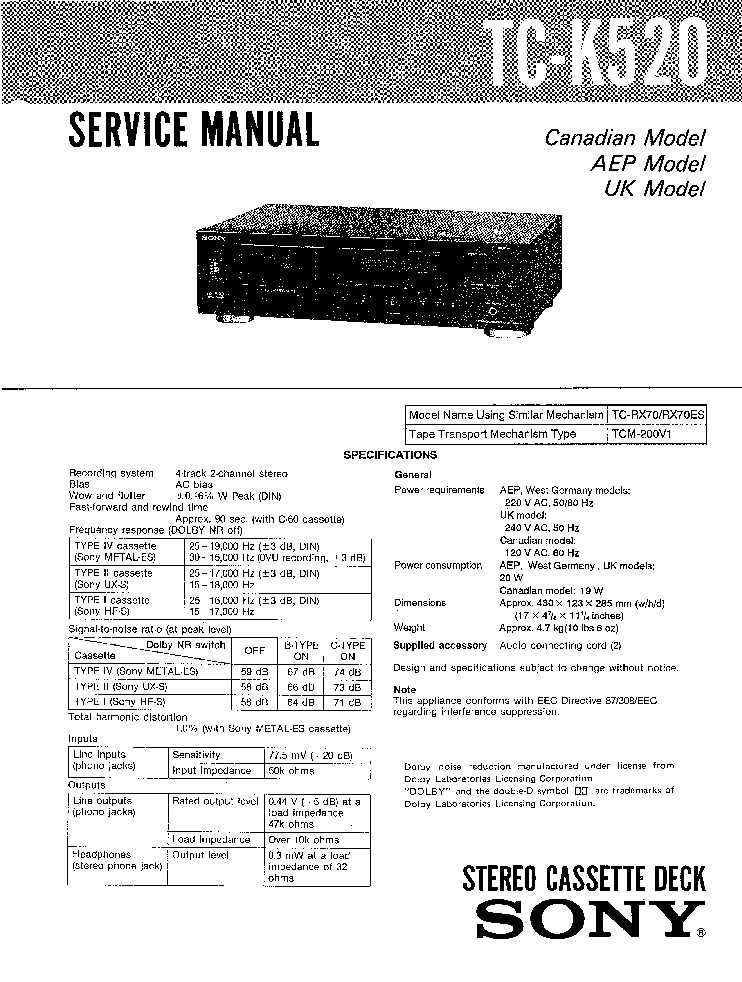 SONY WM-FX36 Service Manual free download, schematics