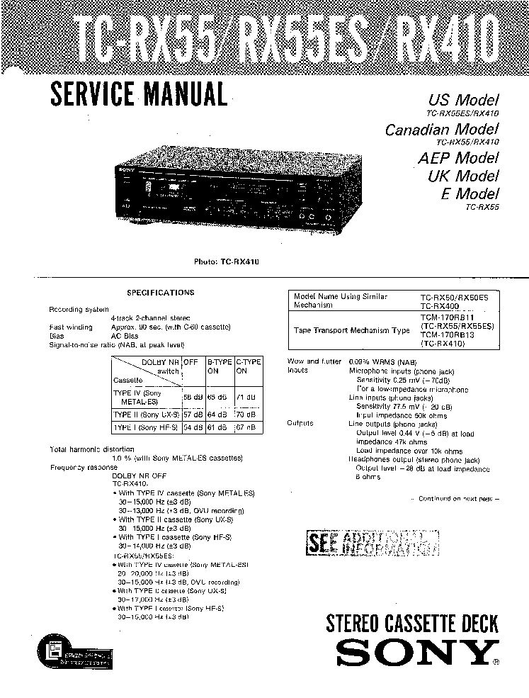 SONY TC-RX55 RX55ES RX410 Service Manual download
