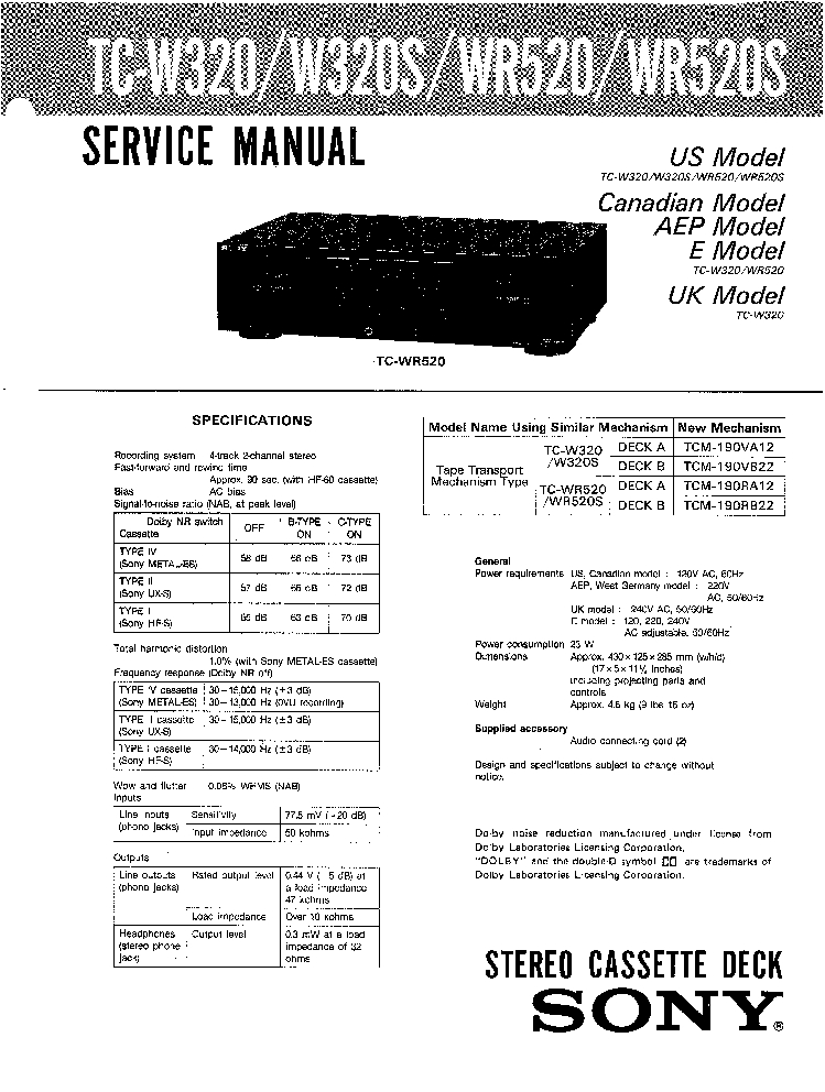 SONY CFS-1030 Service Manual free download, schematics